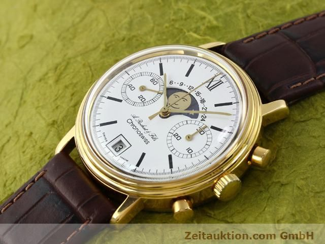 Used luxury watch Chronoswiss Lunar gold-plated manual winding Kal. Valj 7734 Ref. 34.300  | 140224 01
