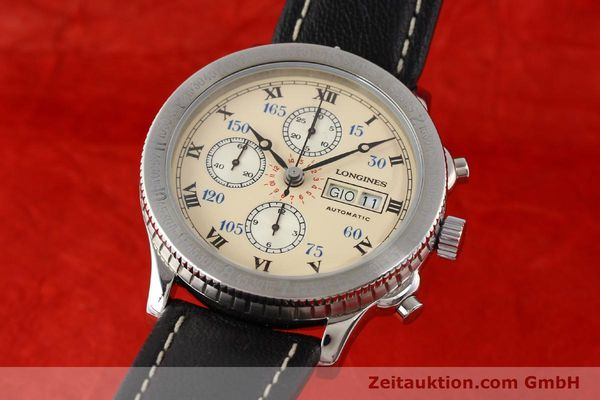 Used luxury watch Longines Lindbergh Stundenwinkel chronograph steel automatic Kal. L674.4 ETA 7750 Ref. 674.5232  | 140328 04