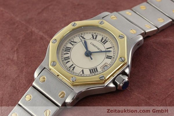 montre de luxe d occasion Cartier Santos acier / or  quartz  | 140930 01