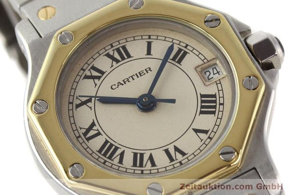 montre de luxe d occasion Cartier Santos acier / or  quartz  | 140930 02