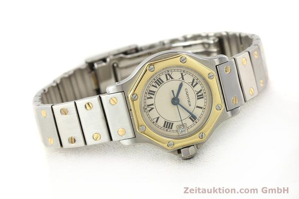 montre de luxe d occasion Cartier Santos acier / or  quartz  | 140930 03