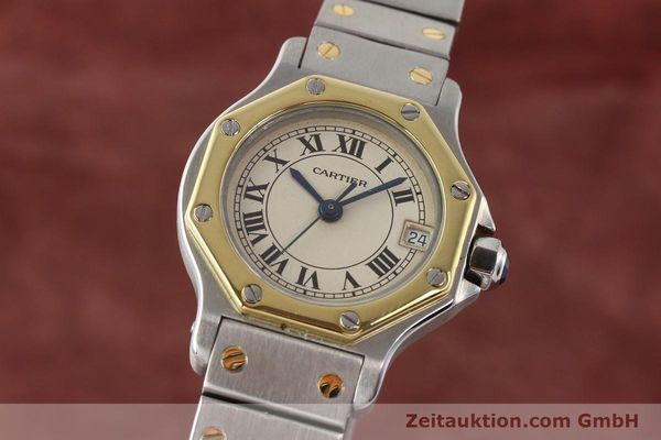 montre de luxe d occasion Cartier Santos acier / or  quartz  | 140930 04