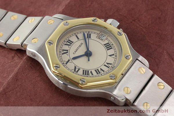 montre de luxe d occasion Cartier Santos acier / or  quartz  | 140930 13