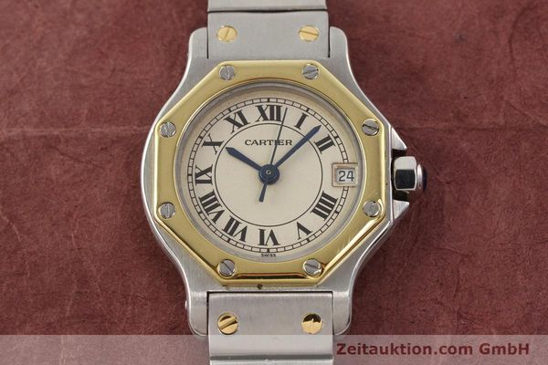 montre de luxe d occasion Cartier Santos acier / or  quartz  | 140930 14