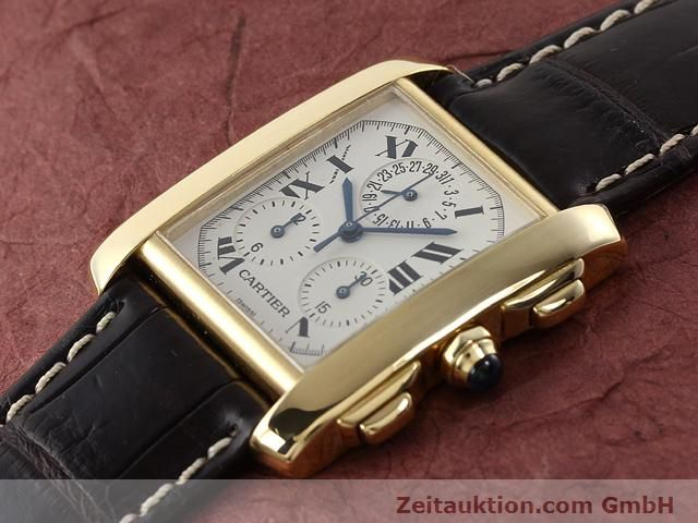 Used luxury watch Cartier Tank chronograph 18 ct gold quartz Kal. 212P VINTAGE  | 141187 01