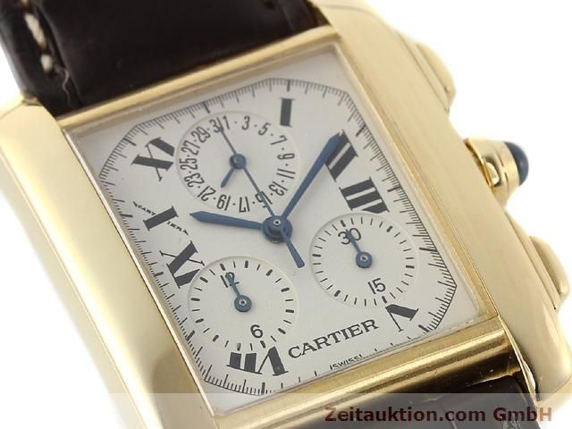 Used luxury watch Cartier Tank chronograph 18 ct gold quartz Kal. 212P VINTAGE  | 141187 02