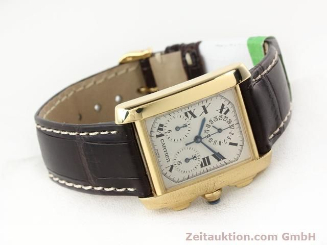 Used luxury watch Cartier Tank chronograph 18 ct gold quartz Kal. 212P VINTAGE  | 141187 03