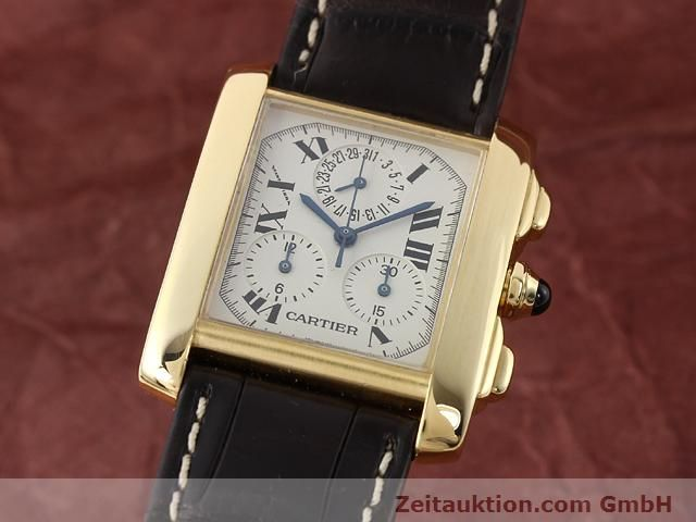 Used luxury watch Cartier Tank chronograph 18 ct gold quartz Kal. 212P VINTAGE  | 141187 04