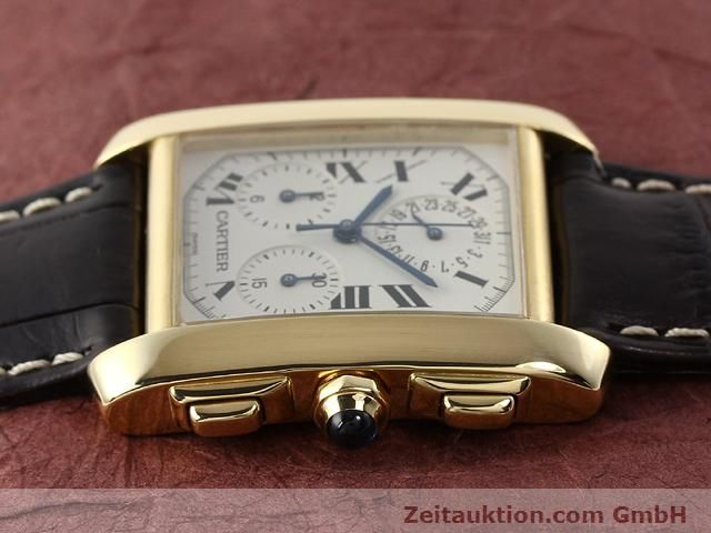 Used luxury watch Cartier Tank chronograph 18 ct gold quartz Kal. 212P VINTAGE  | 141187 05