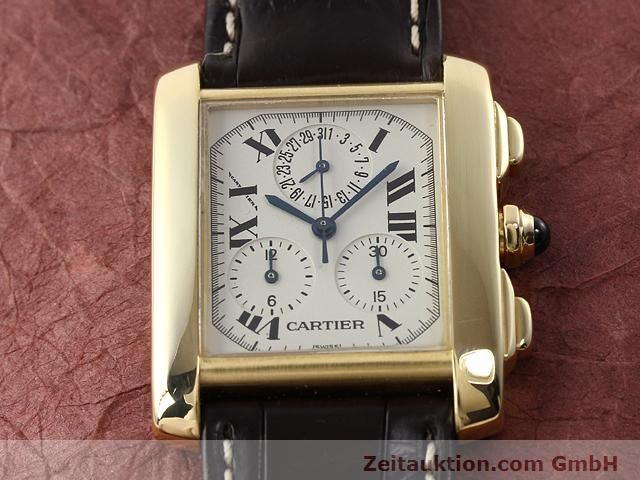 Used luxury watch Cartier Tank chronograph 18 ct gold quartz Kal. 212P VINTAGE  | 141187 14