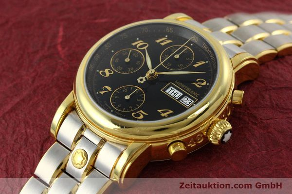 Used luxury watch Montblanc Meisterstück chronograph gold-plated automatic Kal. 4810501 ETA 7750 Ref. 7001  | 141376 01
