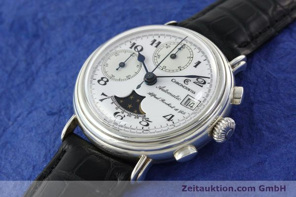 Used luxury watch Chronoswiss A. Rochat chronograph silver automatic Kal. VAL 7758  | 141466 01