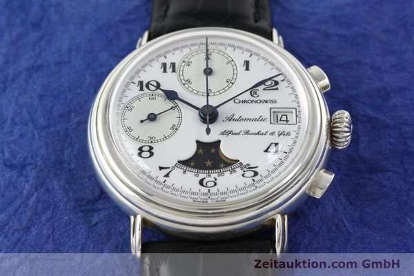 Used luxury watch Chronoswiss A. Rochat chronograph silver automatic Kal. VAL 7758  | 141466 13
