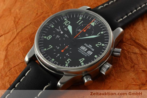 Used luxury watch Fortis Flieger chronograph steel automatic Kal. ETA 7750 Ref. 597.10.141  | 141750 01