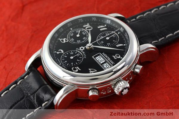 Used luxury watch Montblanc Meisterstück chronograph steel automatic Kal. 4810501 ETA 7750 Ref. 7016  | 141818 01
