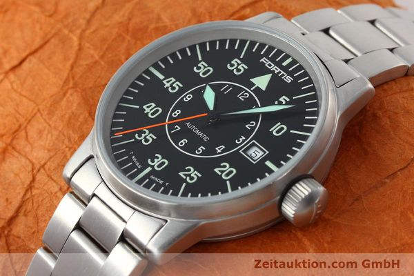 Used luxury watch Fortis Flieger steel automatic Kal. ETA 2824-2 Ref. 595.10.46.1  | 141864 01