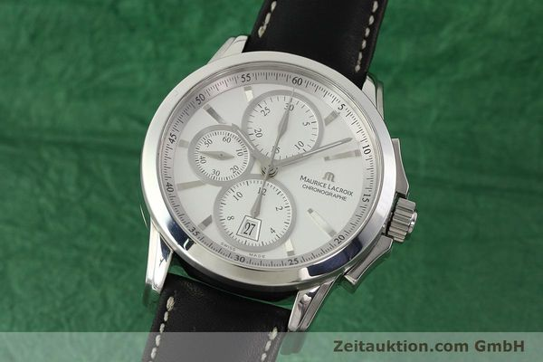 Used luxury watch Maurice Lacroix Pontos chronograph steel automatic Kal. ETA 7750 Ref. PT753/48  | 141869 04