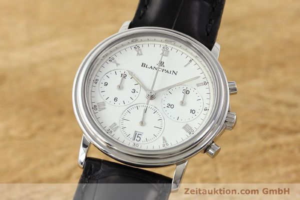 Used luxury watch Blancpain Villeret chronograph steel automatic Kal. 1185  | 141980 04