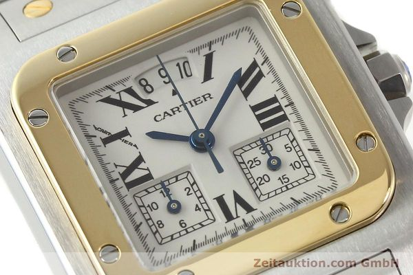 Used luxury watch Cartier Santos chronograph steel / gold quartz Kal. 222  | 141994 02