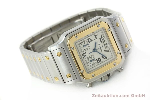 Used luxury watch Cartier Santos chronograph steel / gold quartz Kal. 222  | 141994 03