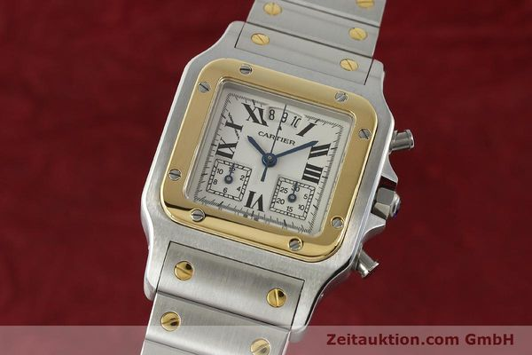 Used luxury watch Cartier Santos chronograph steel / gold quartz Kal. 222  | 141994 04