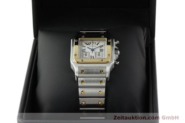 Used luxury watch Cartier Santos chronograph steel / gold quartz Kal. 222  | 141994 07