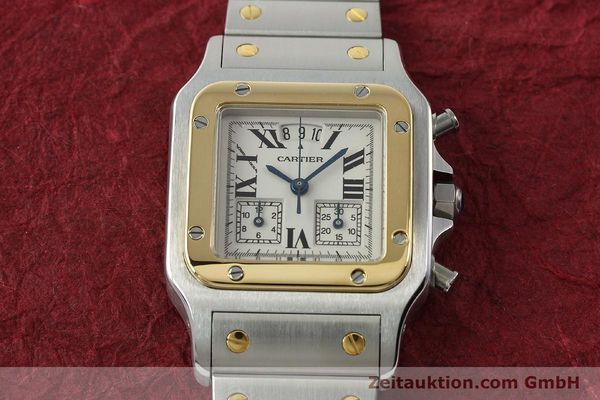 Used luxury watch Cartier Santos chronograph steel / gold quartz Kal. 222  | 141994 14
