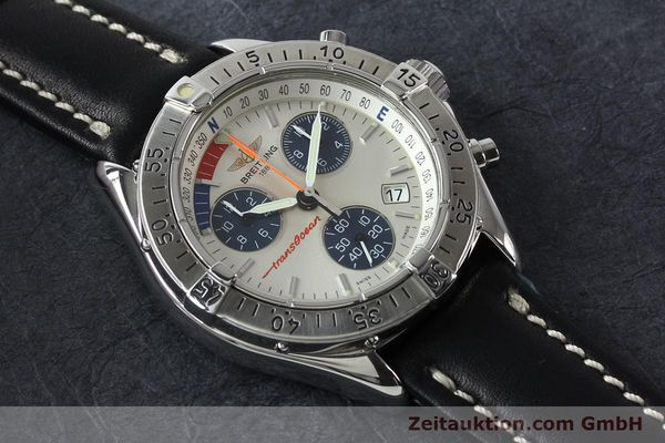 Used luxury watch Breitling Transocean chronograph steel quartz Kal. B53 ETA 251262 Ref. A53040.1  | 142152 12