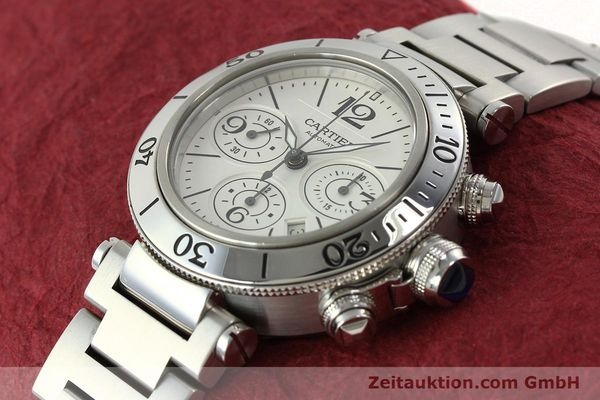 Used luxury watch Cartier Pasha chronograph steel automatic Kal. 8630 ETA 7758  | 142215 01