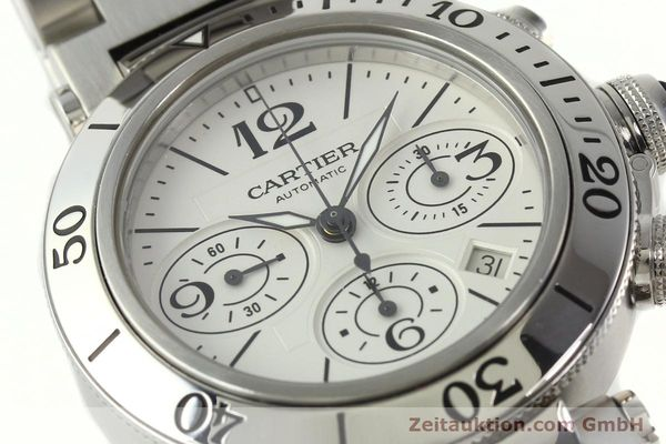 Used luxury watch Cartier Pasha chronograph steel automatic Kal. 8630 ETA 7758  | 142215 02