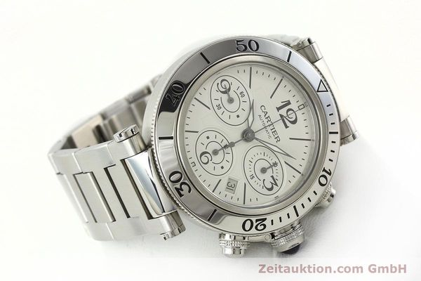 Used luxury watch Cartier Pasha chronograph steel automatic Kal. 8630 ETA 7758  | 142215 03