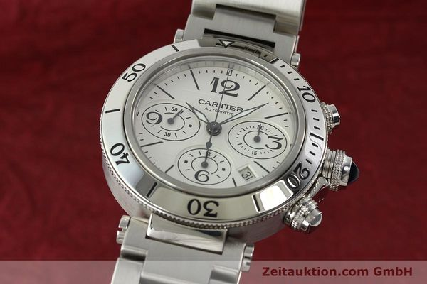 Used luxury watch Cartier Pasha chronograph steel automatic Kal. 8630 ETA 7758  | 142215 04