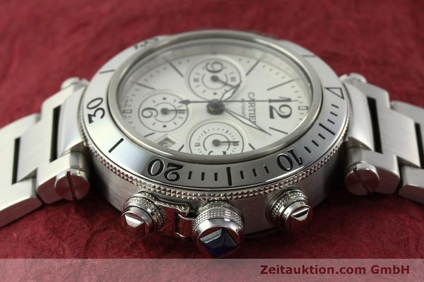 Used luxury watch Cartier Pasha chronograph steel automatic Kal. 8630 ETA 7758  | 142215 05