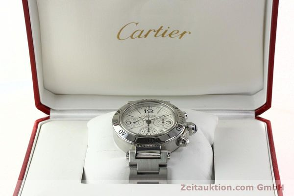 Used luxury watch Cartier Pasha chronograph steel automatic Kal. 8630 ETA 7758  | 142215 07