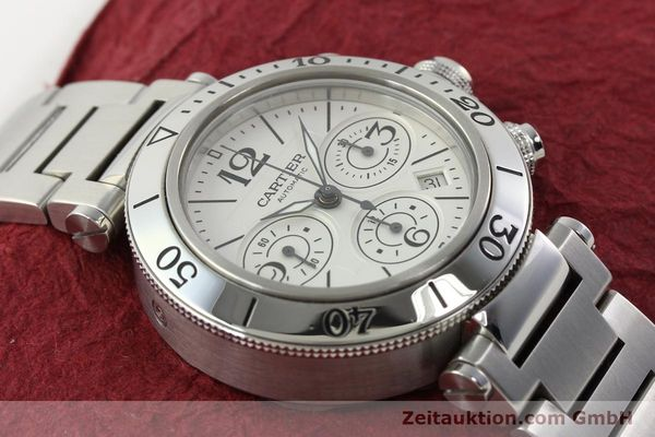 Used luxury watch Cartier Pasha chronograph steel automatic Kal. 8630 ETA 7758  | 142215 17