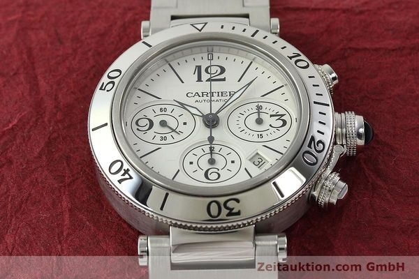 Used luxury watch Cartier Pasha chronograph steel automatic Kal. 8630 ETA 7758  | 142215 18