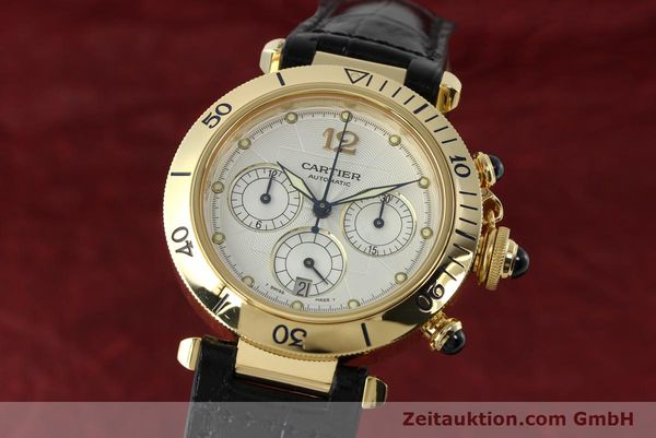 Used luxury watch Cartier Pasha chronograph 18 ct gold automatic Kal. 205  | 142527 04
