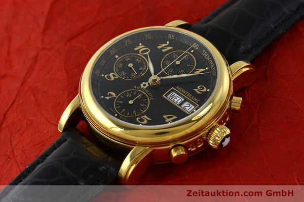 Used luxury watch Montblanc Meisterstück chronograph gold-plated automatic Kal. 4810501 ETA 7750 Ref. 7016  | 142534 01