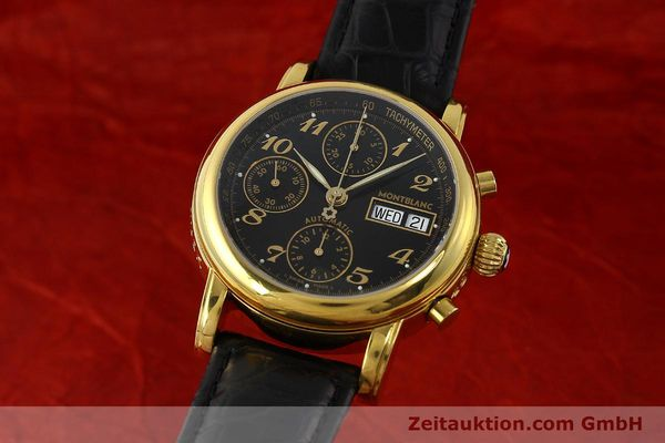 Used luxury watch Montblanc Meisterstück chronograph gold-plated automatic Kal. 4810501 ETA 7750 Ref. 7016  | 142534 04