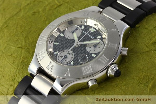 Used luxury watch Cartier Autoscaph 21 chronograph steel quartz Kal. ETA 251.272  | 142538 01