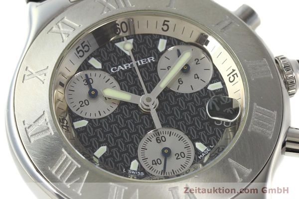 Used luxury watch Cartier Autoscaph 21 chronograph steel quartz Kal. ETA 251.272  | 142538 02