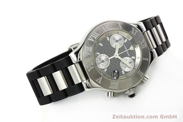 Used luxury watch Cartier Autoscaph 21 chronograph steel quartz Kal. ETA 251.272  | 142538 03
