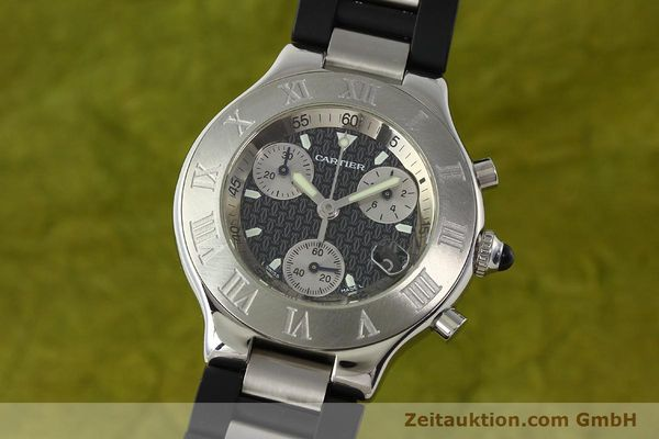 Used luxury watch Cartier Autoscaph 21 chronograph steel quartz Kal. ETA 251.272  | 142538 04