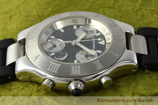Used luxury watch Cartier Autoscaph 21 chronograph steel quartz Kal. ETA 251.272  | 142538 05