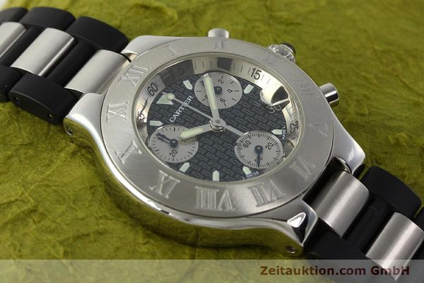 Used luxury watch Cartier Autoscaph 21 chronograph steel quartz Kal. ETA 251.272  | 142538 14