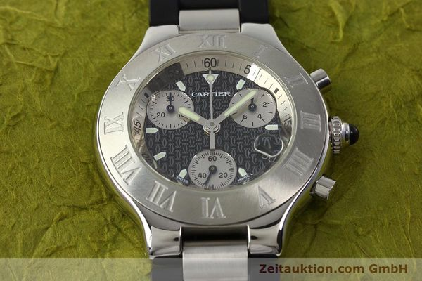 Used luxury watch Cartier Autoscaph 21 chronograph steel quartz Kal. ETA 251.272  | 142538 15
