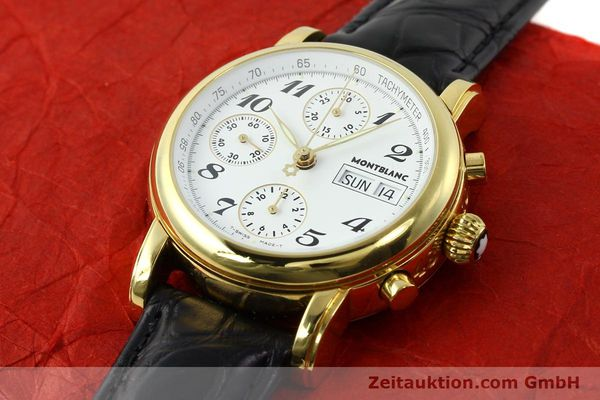 Used luxury watch Montblanc Meisterstück chronograph gold-plated automatic Kal. 4810501 ETA 7750 Ref. 7001  | 142553 01