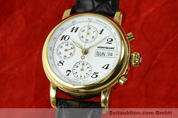 Used luxury watch Montblanc Meisterstück chronograph gold-plated automatic Kal. 4810501 ETA 7750 Ref. 7001  | 142553 04