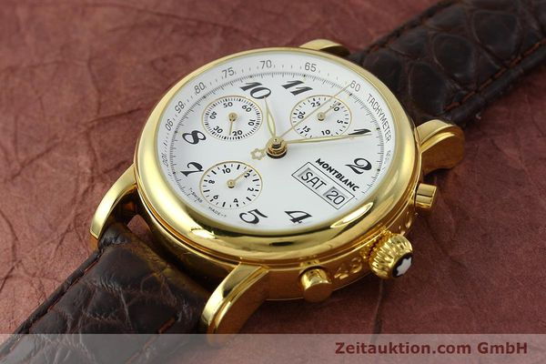 Used luxury watch Montblanc Meisterstück chronograph gold-plated automatic Kal. 4810501 ETA 7750 Ref. 7001  | 142619 01