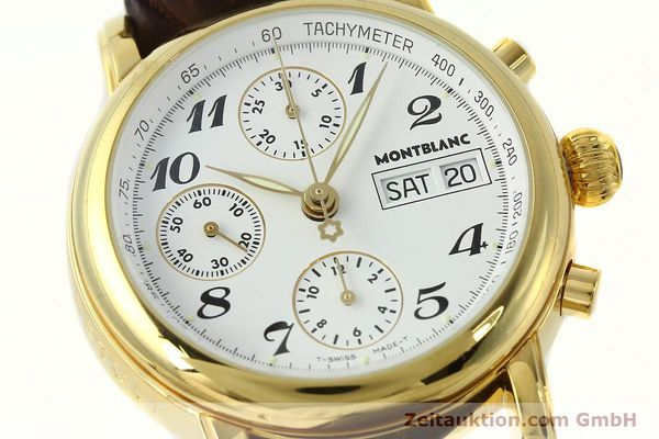 Used luxury watch Montblanc Meisterstück chronograph gold-plated automatic Kal. 4810501 ETA 7750 Ref. 7001  | 142619 02